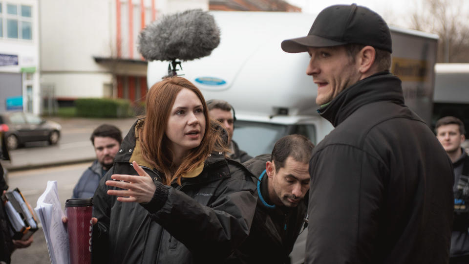 Karen Gillan on the set of her directorial debut 'The Party's Just Beginning'. (Credit: Blue Finch Film)