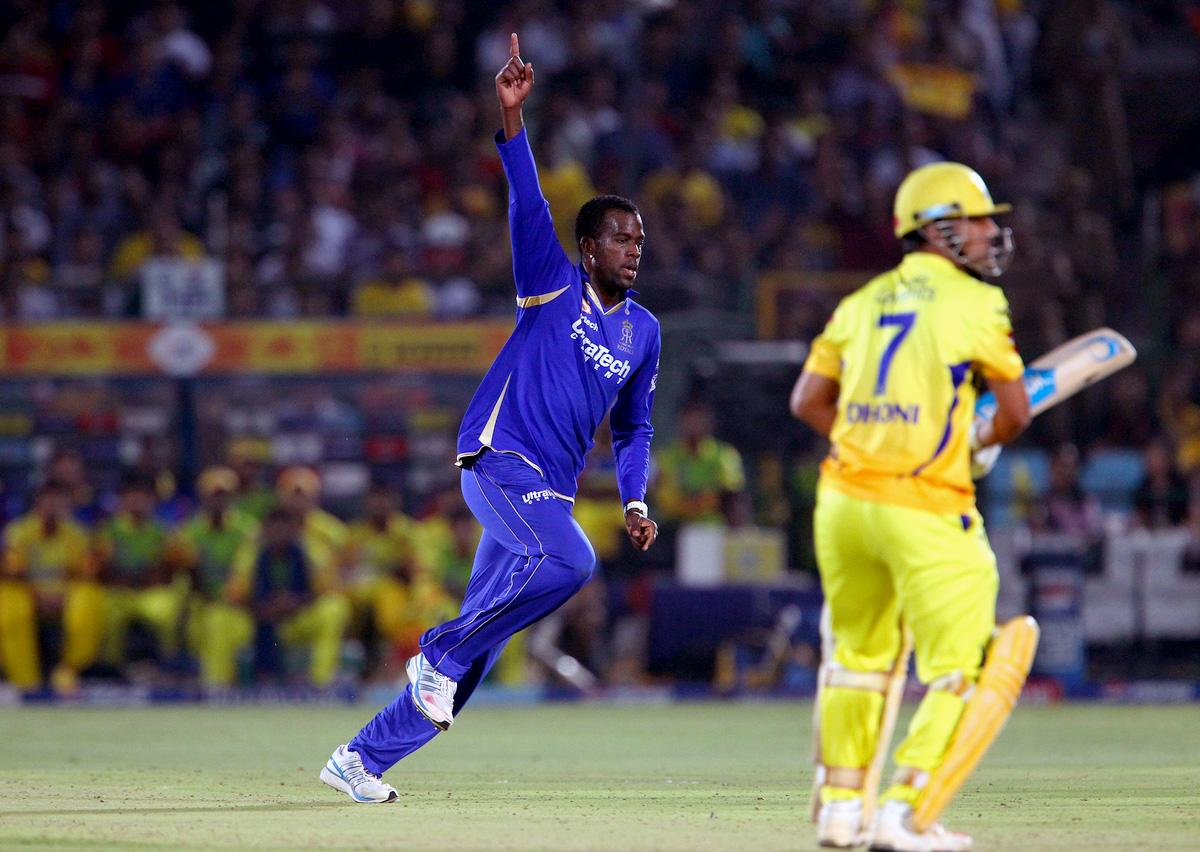 Kevon Cooper celebrates the wicket of MS Dhoni during match 61 of the Pepsi Indian Premier League ( IPL) 2013  between The Rajasthan Royals and the Chennai Super Kings held at the Sawai Mansingh Stadium in Jaipur on the 12th May 2013. (BCCI)