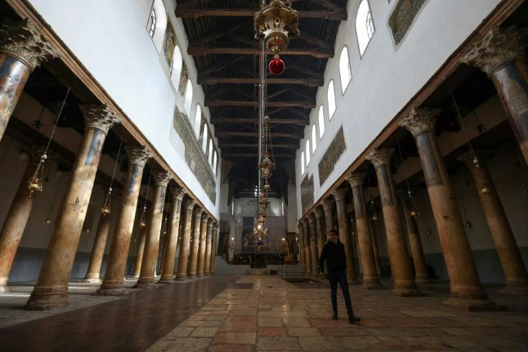 Normally, Bethlehem's Church of the Nativity is crammed with visitors but the site is nearly empty because of coronavirus