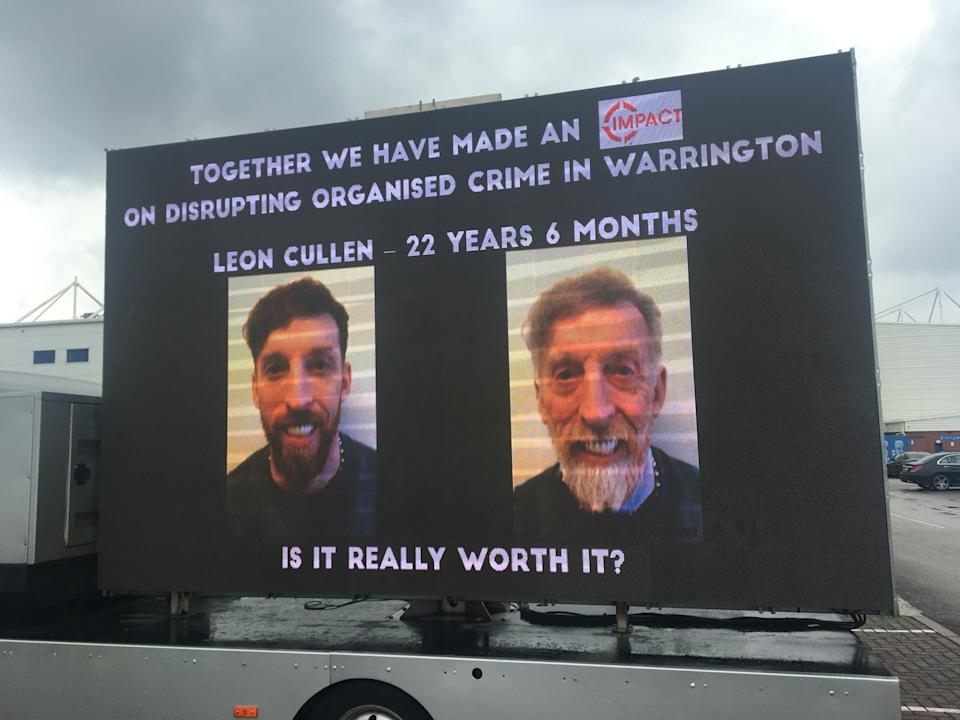 A billboard showing crime boss Leon Cullen's current mugshot and how he might look at the end of his prison sentence. (Reach)