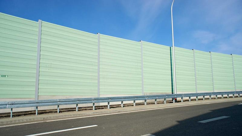 Noise barrier wall on motorway
