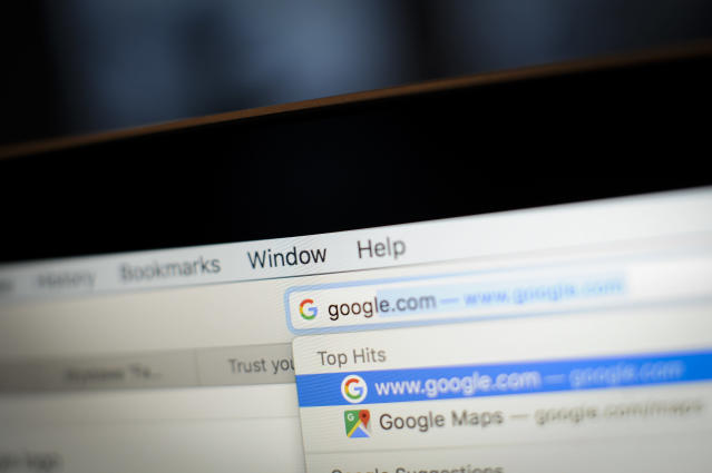 Somebody typing Google into an address bar. Photo: Jaap Arriens/SIPA USA/PA Images
