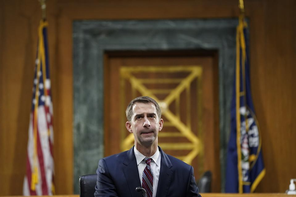 Senator Tom Cotton, a Republican from Arkansas, speaks during a Senate Banking, Housing and Urban Affairs Committee hearing in Washington, D.C., U.S., on Thursday, Sept 24, 2020. (Drew Angerer/Getty Images/Bloomberg via Getty images)