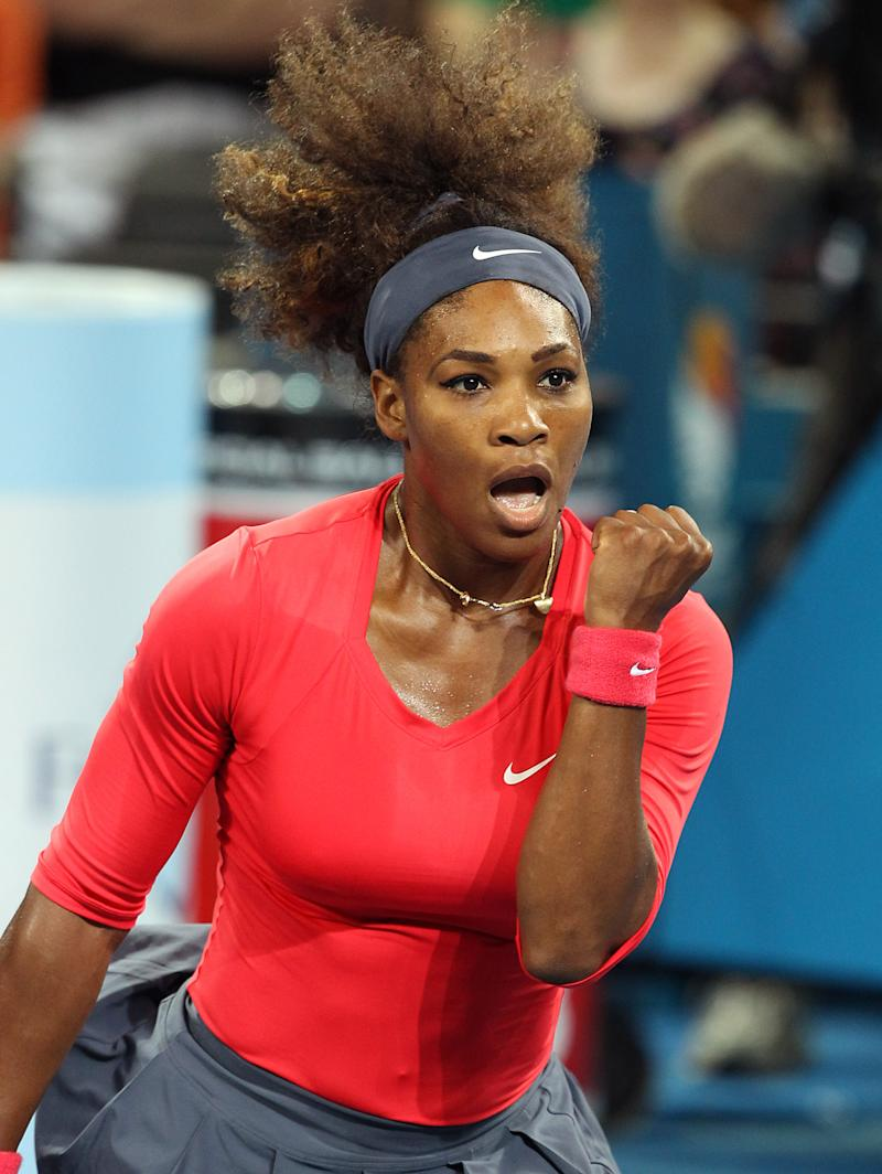 Serena Williams of the United States celebrates winning the women's final match against Anastasia Pavlyuchenkova of Russia 6-2, 6-1 during the Brisbane International tennis tournament in Brisbane, Australia, Saturday, Jan 5, 2013. Williams captured her 47th career title with a comprehensive 6-2, 6-1 victory over Pavlyuchenkova in Saturday's Brisbane International final.  (AP Photo/Tertius Pickard).