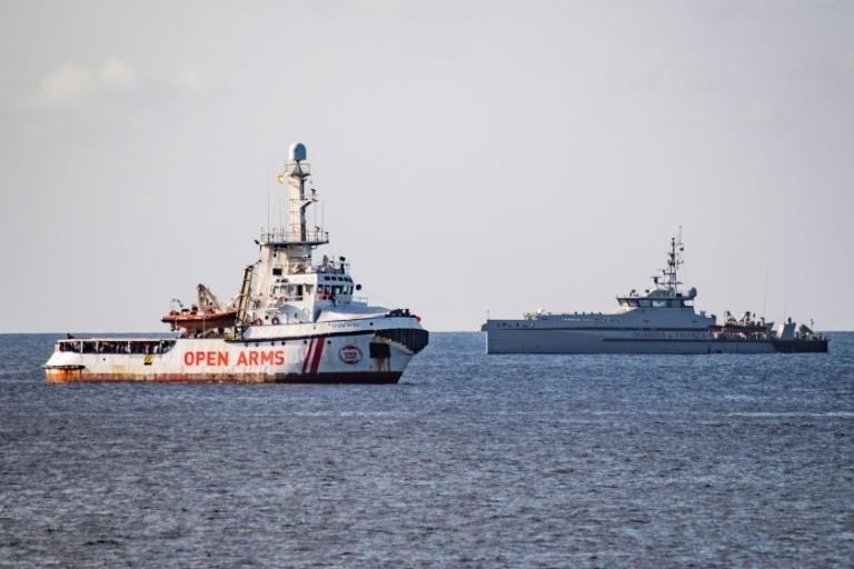 The Open Arms vessel has been anchored off Lampedusa since last week (AFP Photo/Alessandro SERRANO)