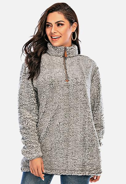 Les umes Women's Sherpa Fuzzy Fleece Sweatshirt in Grey. Image via Amazon.