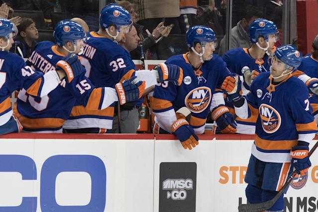 New York Islanders right wing Jordan Eberle (7) celebrates after scoring a goal during the first period of an NHL hockey game against the New Jersey Devils, Saturday, Nov. 3, 2018, in New York. (AP Photo/Mary Altaffer)