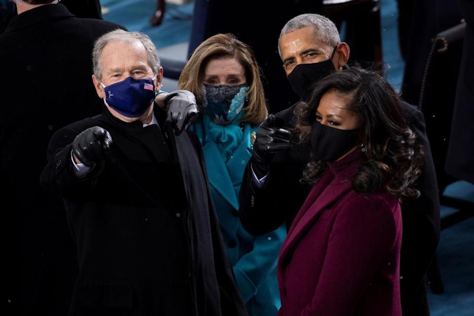 George W Bush, Nancy Pelosi and the Obamas arrive for the inauguration.