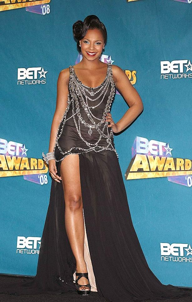 """Ashanti attempted to be glamorous, but the bottom half of her gown went missing. Maury Phillips/<a href=""""http://www.wireimage.com"""" target=""""new"""">WireImage.com</a> - June 24, 2008"""