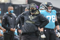 Jacksonville Jaguars head coach Doug Marrone is shown during the second half of an NFL football game against the Houston Texans, Sunday, Nov. 8, 2020, in Jacksonville, Fla. The Jaguars have fired coach Doug Marrone a little more than 12 hours after ending the season with a 15th consecutive loss. It was a move many thought owner Shad Khan should have made at the end of 2019. The Jaguars canceled Marrones season-ending news conference scheduled for Monday, Jan. 4, 2021. (AP Photo/Gary McCullough)