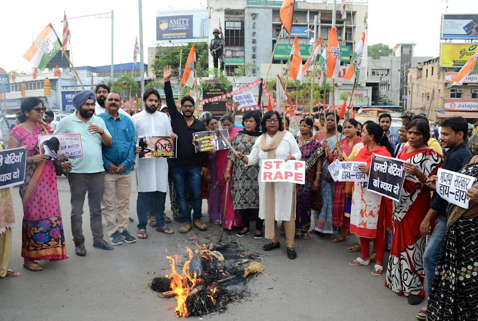 Indian activists protest for justice after the gang-rape of five female charity workers in Chochang village of Khunti district.