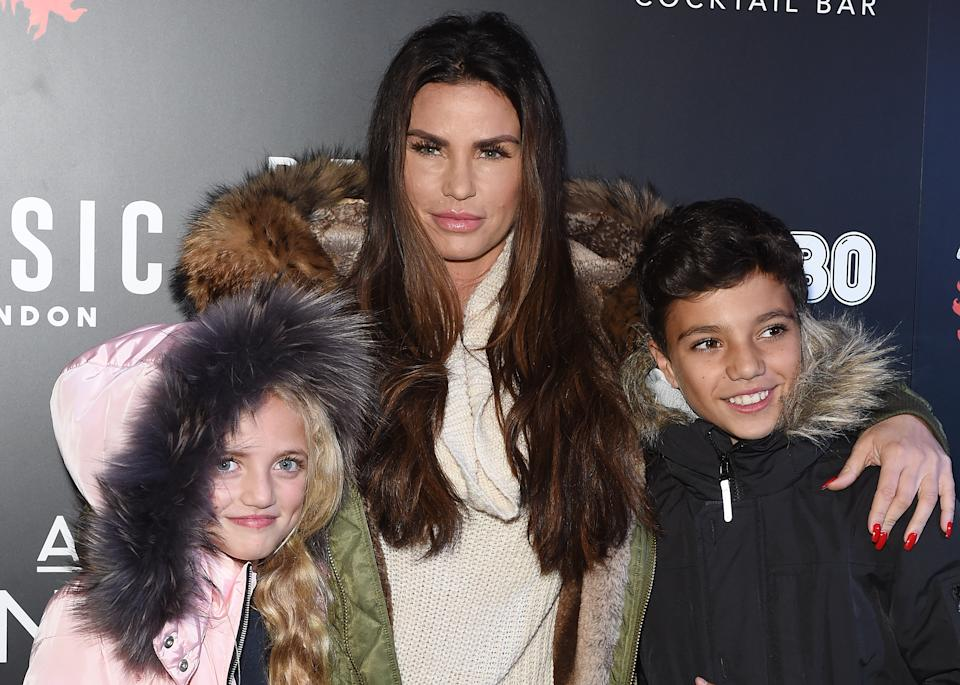 CRAWLEY, WEST SUSSEX - OCTOBER 06:  Katie Price attends the 'Shocktober' press night with her children Princess (L) and Junior (R) at Tulleys Farm on October 6, 2017 in Crawley, West Sussex.  (Photo by Tabatha Fireman/Getty Images)