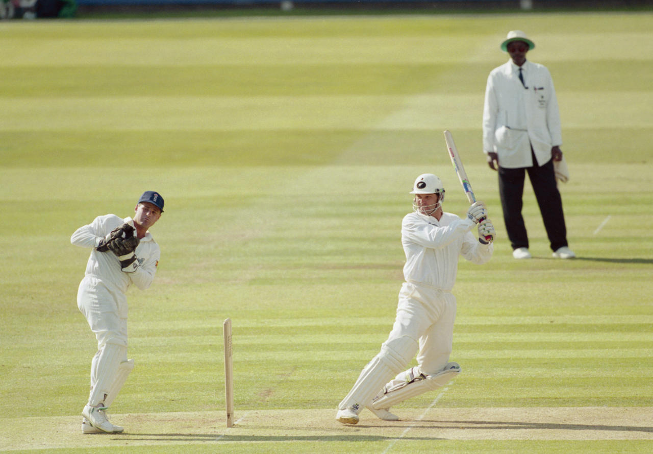 LONDON - JUNE 16:  Martin Crowe of New Zealand hits out on his way to a 142 run innings during the Second Test Match between England and New Zealand held on June 16, 1994 at Lord's, in London. (Photo by Adrian Murrell/Getty Images)