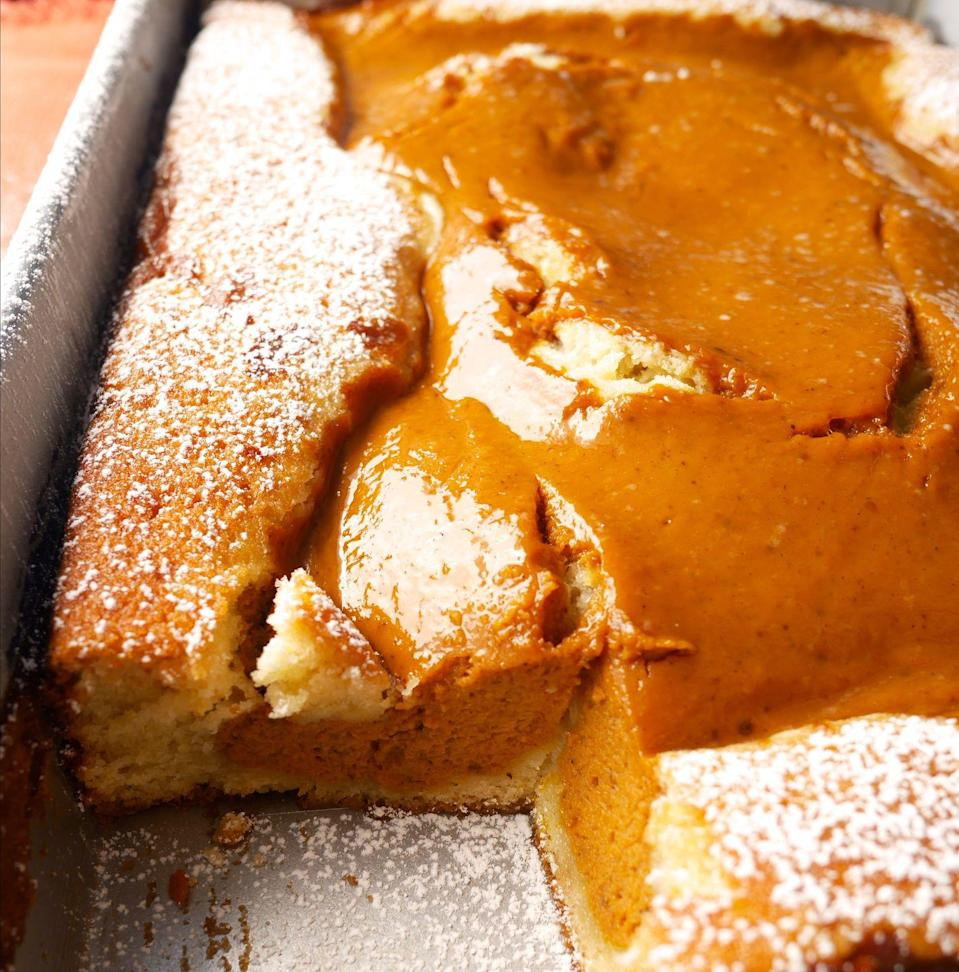 """<p>This cake-pie hybrid is the answer to your dessert indecision.</p><p>Get the recipe from <a href=""""https://www.delish.com/cooking/recipe-ideas/recipes/a48962/pumpkin-pie-cake-recipe/"""" rel=""""nofollow noopener"""" target=""""_blank"""" data-ylk=""""slk:Delish"""" class=""""link rapid-noclick-resp"""">Delish</a>.</p>"""