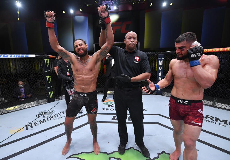 LAS VEGAS, NEVADA - NOVEMBER 07: Max Griffin reacts after his victory over Ramiz Brahimaj in a welterweight fight during the UFC Fight Night event at UFC APEX on November 07, 2020 in Las Vegas, Nevada. (Photo by Jeff Bottari/Zuffa LLC)