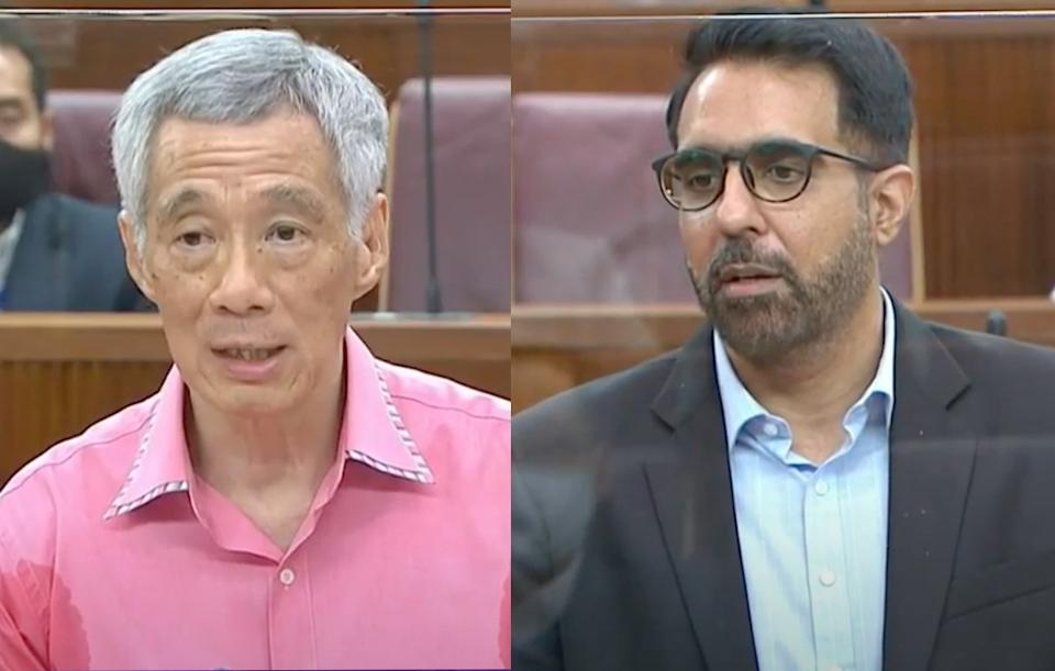 Prime Minister Lee Hsien Loong and Workers' Party chief Pritam Singh speaking in Parliament on 2 September 2020. (PHOTOS: Parliament screengrabs)