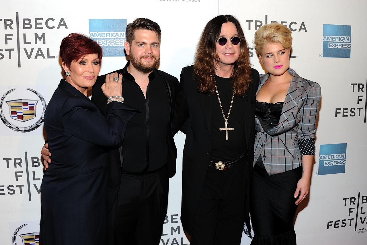 "NEW YORK, NY - APRIL 24:  (L-R) Sharon Osborne, Jack Osborne, Ozzy Osborne and Kelly Osborne attend the premiere of ""God Bless Ozzy Osbourne"" during the 2011 Tribeca Film Festival at BMCC Tribeca PAC on April 24, 2011 in New York City.  (Photo by Jason Kempin/Getty Images)"