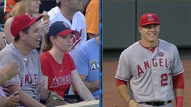 Mike Trout fan interferes with Mike Trout