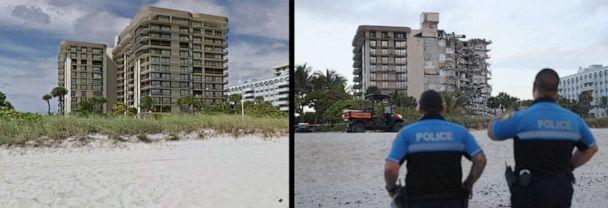 PHOTO: The 12-story condo tower in a Google street view image before it collapsed, left, and after, June 24, 2021, in Surfside, Fla., near Miami Beach.  (Google Street View/Getty Images)