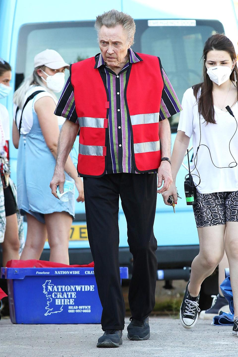<p>Christopher Walken films scenes for the new BBC and Amazon Prime series <em>The Offenders</em> in Bristol on July 19.</p>