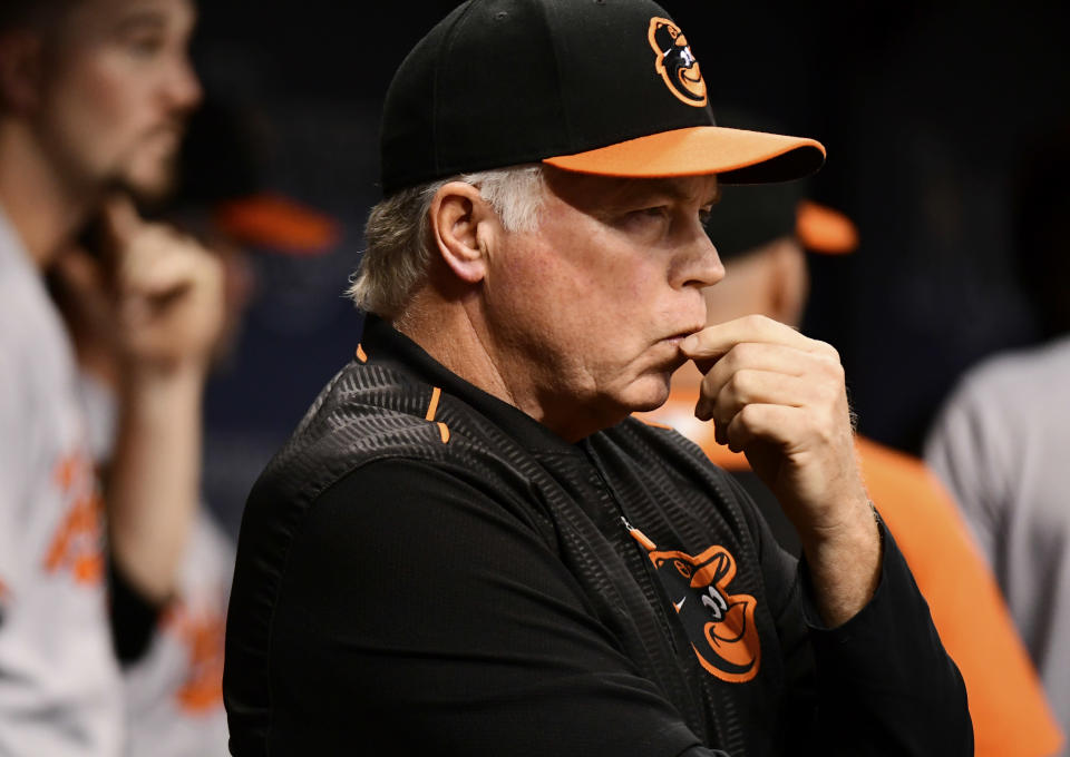 Orioles manager Buck Showalter is one of several managers who could soon be out of a job. (Photo by Julio Aguilar/Getty Images)