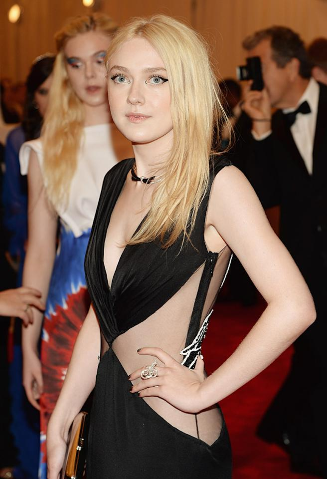 "NEW YORK, NY - MAY 06:  Dakota Fanning attends the Costume Institute Gala for the ""PUNK: Chaos to Couture"" exhibition at the Metropolitan Museum of Art on May 6, 2013 in New York City.  (Photo by Dimitrios Kambouris/Getty Images)"