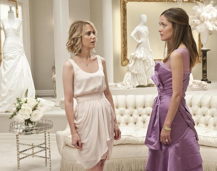 """FILE - In this publicity file photo released by Universal Pictures, Kristen Wiig, left, and Rose Byrne are shown in a scene from """"Bridesmaids."""" (AP Photo/Universal Pictures, Suzanne Hanover, File)"""