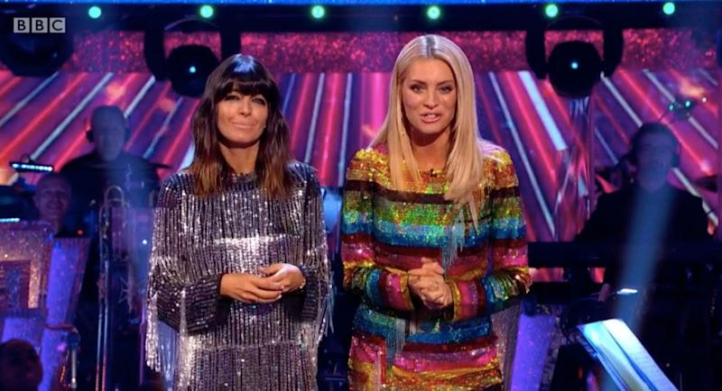 Claudia Winkleman and Tess Daly wowed fans with their stunning dresses on last night's Strictly Come Dancing [Image: BBC]