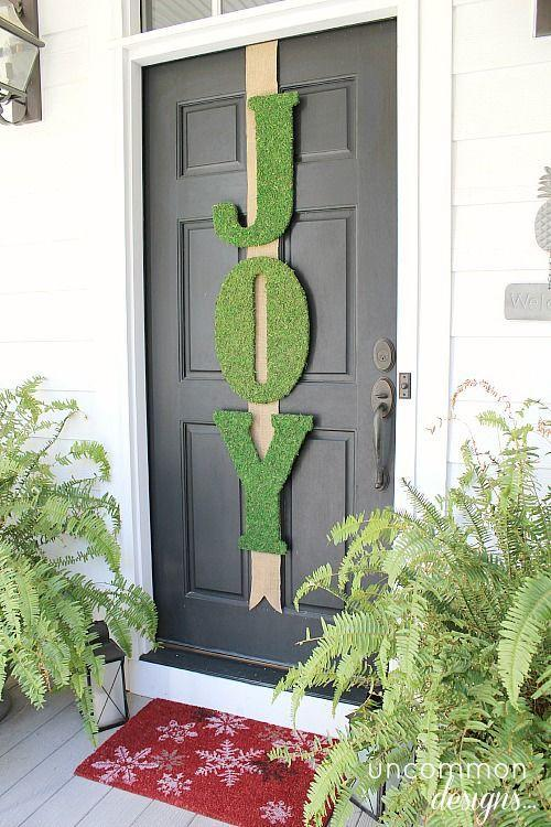 """<p>Give your Christmas porch a wow-worthy treatment with oversized letters. Try them freestanding or hanging from the door or banister with a simple message like """"joy"""" — or even your family monogram.<br></p><p><strong><em>Get the look at <a href=""""http://uncommondesignsonline.com/garnet-hill-inspired-moss-joy-letters/"""" rel=""""nofollow noopener"""" target=""""_blank"""" data-ylk=""""slk:Uncommon Designs"""" class=""""link rapid-noclick-resp"""">Uncommon Designs</a>.</em></strong> </p>"""