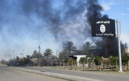 Smoke raises behind an Islamic State flag after Iraqi security forces and Shiite fighters took control of Saadiya from Islamist State militants