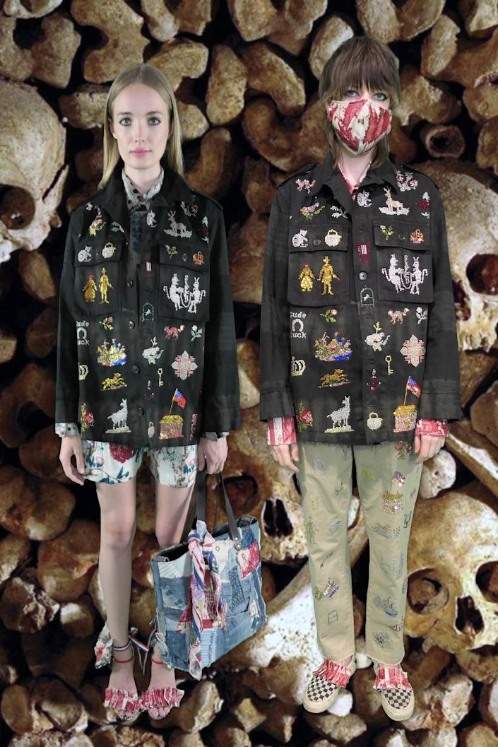 """<h2>Libertine</h2> <br>Designer Johnson Hartig may have used the past 20 years of Libertine as his inspiration for the spring '21 collection, according to <em><a href=""""https://www.vogue.com/fashion-shows/spring-2021-ready-to-wear/libertine"""" rel=""""nofollow noopener"""" target=""""_blank"""" data-ylk=""""slk:Vogue"""" class=""""link rapid-noclick-resp"""">Vogue</a></em>, but clearly he didn't forget about the future — designing a selection of protective face masks to match.<span class=""""copyright"""">Photo Courtesy of Libertine.</span><br>"""