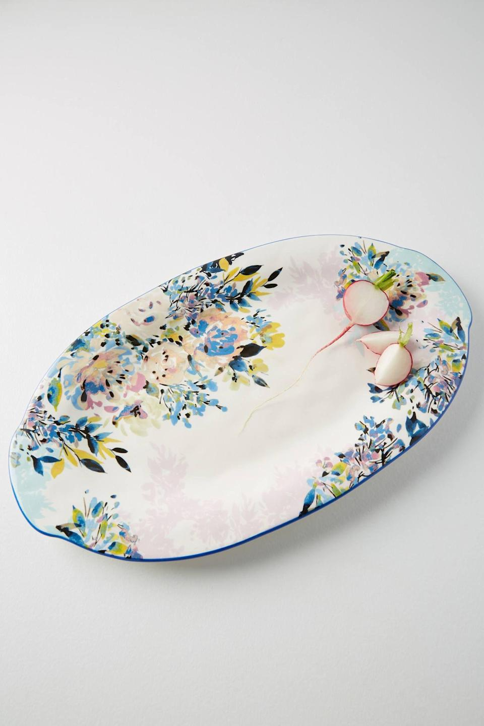 """<p><strong>Anthropologie</strong></p><p>anthropologie.com</p><p><strong>$68.00</strong></p><p><a href=""""https://go.redirectingat.com?id=74968X1596630&url=https%3A%2F%2Fwww.anthropologie.com%2Fshop%2Fgardenshire-platter%3Fcolor%3D049%26type%3DSTANDARD%26size%3DPlatter%26quantity%3D1&sref=https%3A%2F%2Fwww.womansday.com%2Frelationships%2Fdating-marriage%2Fg36408636%2Fbridal-shower-gift-ideas%2F"""" rel=""""nofollow noopener"""" target=""""_blank"""" data-ylk=""""slk:Shop Now"""" class=""""link rapid-noclick-resp"""">Shop Now</a></p><p>For the bride who loves to entertain, this floral platter will add a touch of color to her table. It's hand-painted and understated enough to match the most traditional or contemporary kitchens.</p>"""