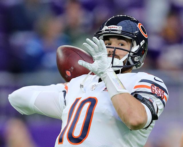"""Mitch Trubisky will have competition if <a class=""""link rapid-noclick-resp"""" href=""""/nfl/teams/chicago/"""" data-ylk=""""slk:the Bears"""">the Bears</a> can bring in a veteran quarterback to push him along. (Adam Bettcher/Getty Images)"""