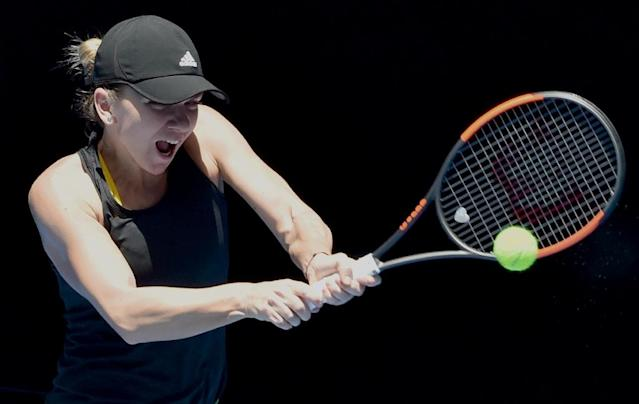 Romania's Simona Halep, seen here during a training session on Thursday, will face Australian wild card Destanee Aiava as her first round opponent at the Australian Open (AFP Photo/PAUL CROCK)