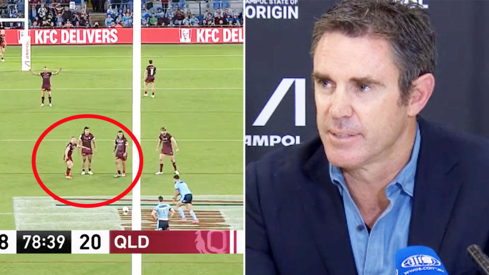 Brad Fittler, pictured here speaking to the media after State of Origin III.