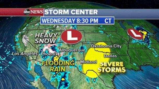 PHOTO: Severe thunderstorms are possible Wednesday from Midland, Texas, to Dallas and into Oklahoma City. These storms will bring, damaging winds, large hail and a few tornadoes. (ABC News)