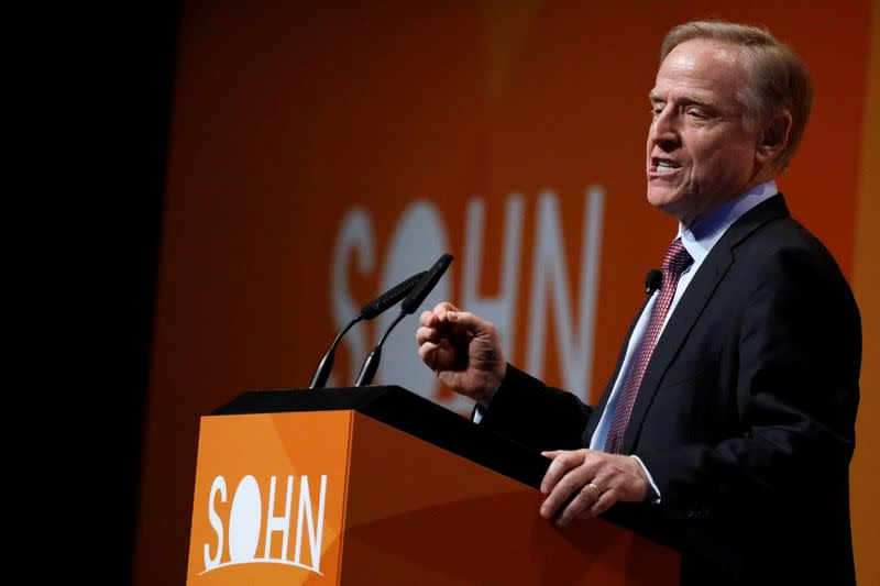 FILE PHOTO: Clifton Robbins, Founder and CEO of Blue Harbour Group, speaks during the Sohn Investment Conference in New York