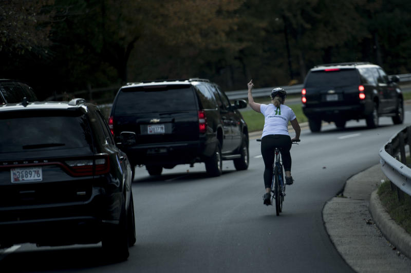 This photo of Juli Briskman giving President Donald Trump's motorcade the finger on October 28 cost her her job, the mother has said. (AFP)