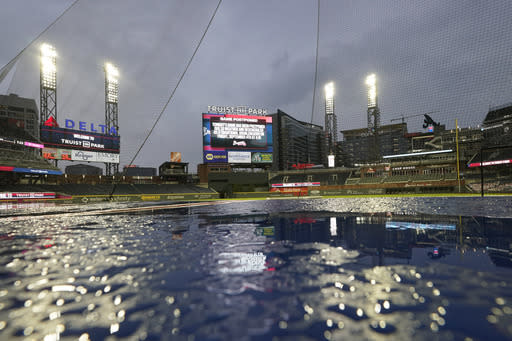 Nationals-Braves postponed by rain, spoiling Pache's debut