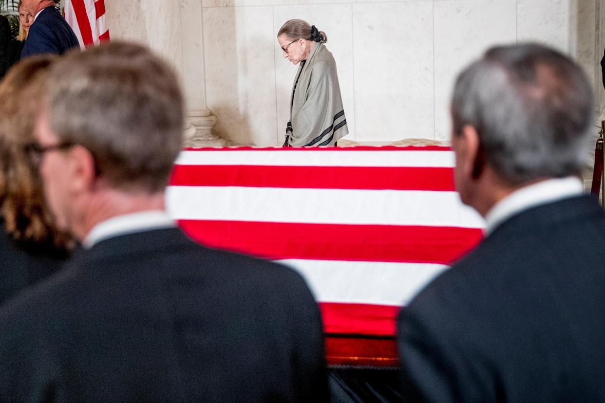 Associate Justice Ruth Bader Ginsburg was the last justice to leave a private ceremony in the Great Hall of the Supreme Court Monday where the late Supreme Court Justice John Paul Stevens lay in repose.