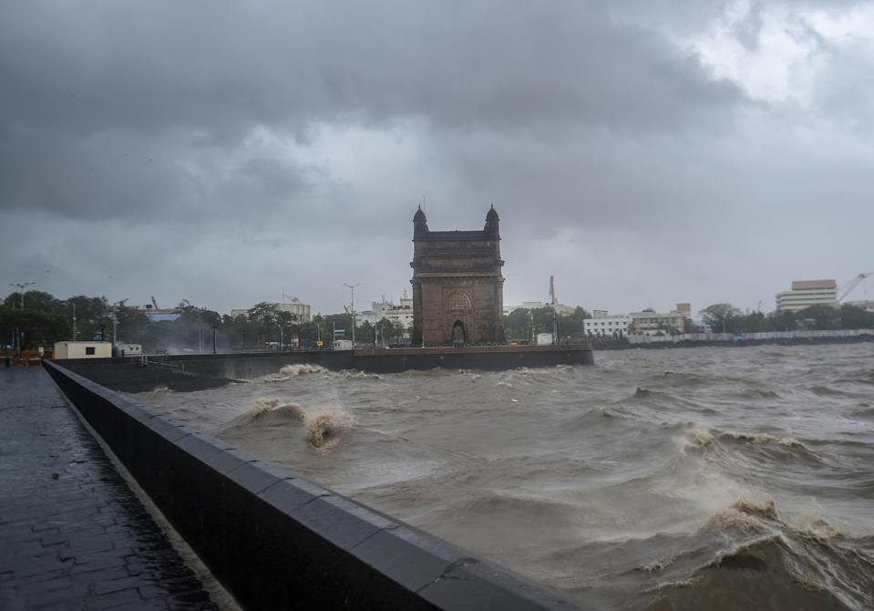 Strong sea waves near the Gateway of India due to Cyclone Tauktae approaching the coasts, in Mumbai.