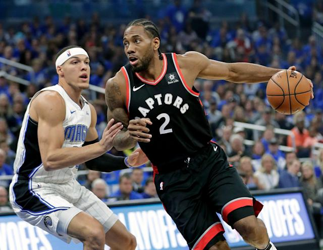 Kawhi Leonard carried the Raptors in the first round. (AP Photo/John Raoux)