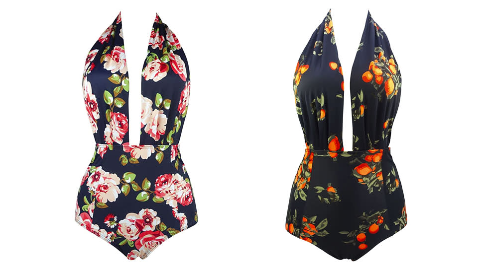 Cocoship Retro One-Piece Backless Swimsuit