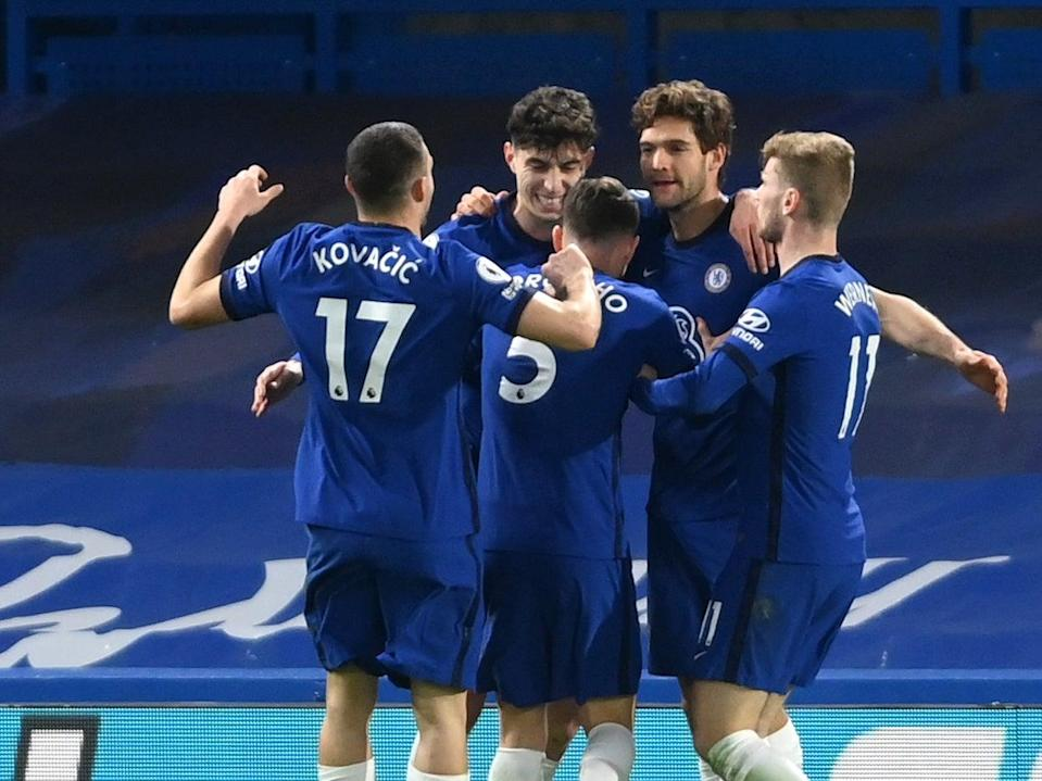 Chelsea players celebrate Havertz's role in the first goal against EvertonGetty Images
