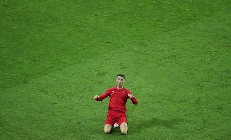 Soccer Football - World Cup - Group B - Portugal vs Spain - Fisht Stadium, Sochi, Russia - June 15, 2018 Portugal's Cristiano Ronaldo celebrates scoring their second goal REUTERS/Lucy Nicholson