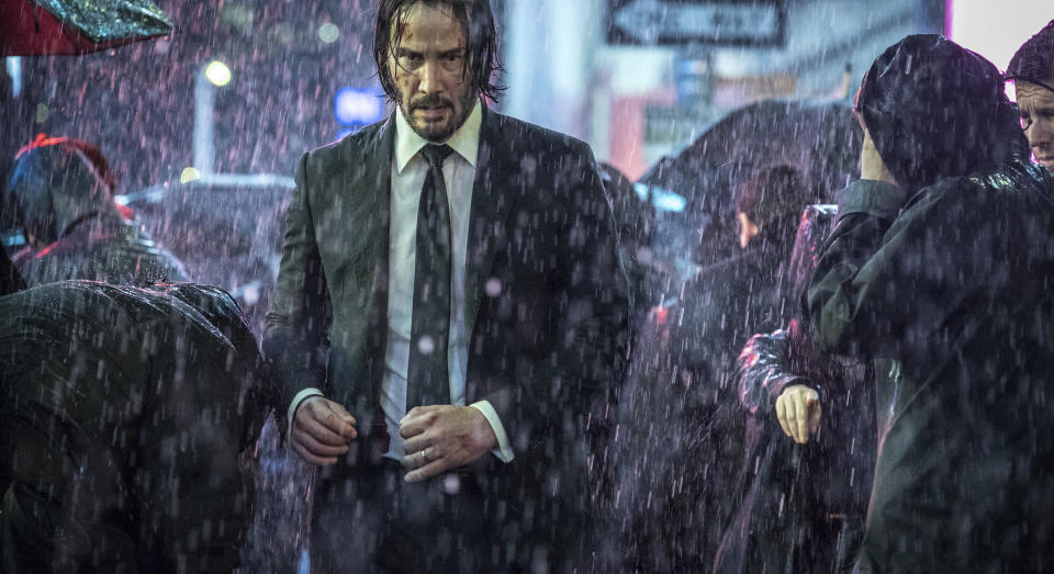 """This image released by Lionsgate shows Keanu Reeves in a scene from """"John Wick: Chapter 3 – Parabellum."""" (Niko Tavernise/Lionsgate via AP)"""