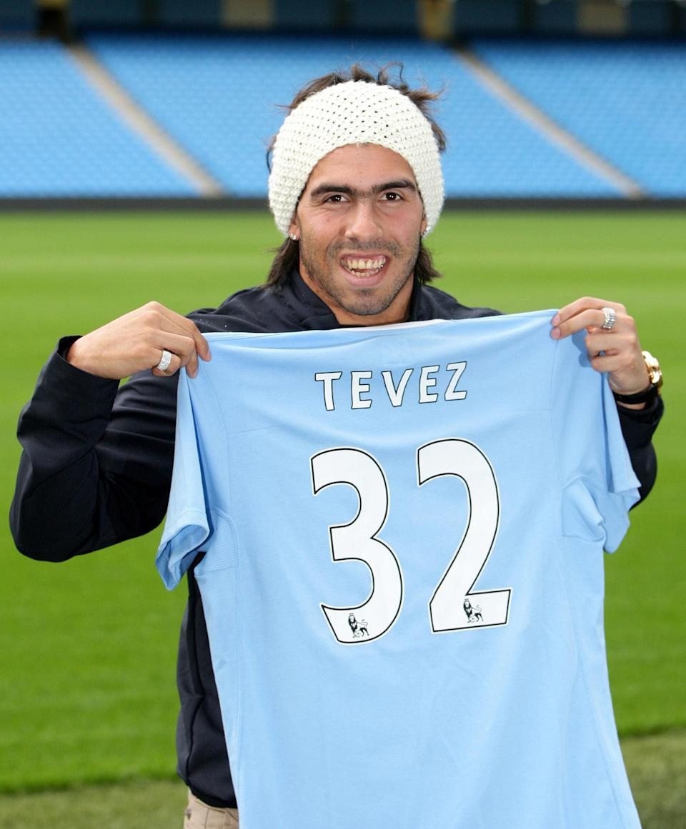 Manchester City new signing Carlos Tevez following a press conference at the City of Manchester Stadium, Manchester.   (Photo by Martin Rickett - PA Images/PA Images via Getty Images)