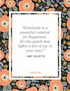 """<p>""""Gratitude is a powerful catalyst for happiness. It's the spark that lights a fire of joy in your soul.""""</p>"""