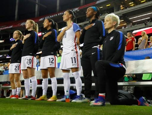 US women's soccer star Megan Rapinoe kneels in protest before an international in Atlanta in 2016