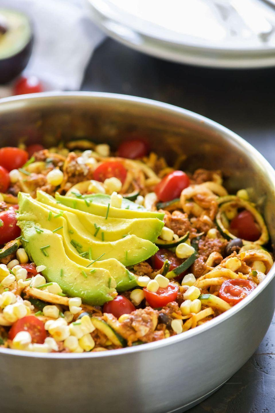 """<p>We never thought we'd ditch the tortillas on Taco Tuesday ... until <em>now</em>.</p><p><a href=""""http://withsaltandwit.com/one-pot-cheesy-taco-zucchini-noodle-skillet/"""" rel=""""nofollow noopener"""" target=""""_blank"""" data-ylk=""""slk:Get the recipe from With Salt and Wit »"""" class=""""link rapid-noclick-resp""""><em>Get the recipe from With Salt and Wit »</em></a></p>"""